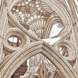 Menega Sabidussi - Wells Cathedral Interior Lines and Shapes Sketch Brown