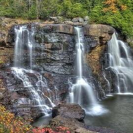 Michael Mazaika - When Light and Water Falls-2A Three Cascades Over Blackwater Falls State Park WV Autumn Mid-Morning