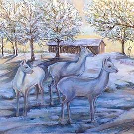 Katerina Kovatcheva - White deer on a snowy day