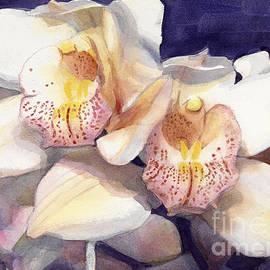 Greta Corens - White Orchids Watercolor