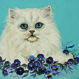 Bob and Nadine Johnston - White Persian in Pansy Patch