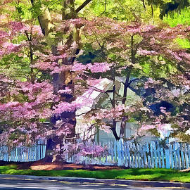 Susan Savad - White Picket Fence by Flowering Trees