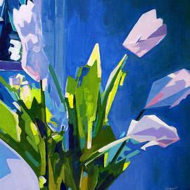 Tanya Filichkin - White Tulips on Blue Background
