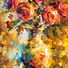 Leonid Afremov - Wild Roses - PALETTE KNIFE Oil Painting On Canvas By Leonid Afremov