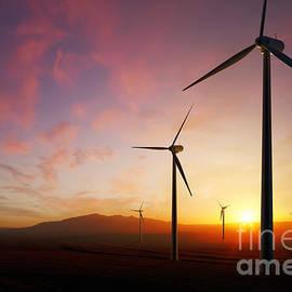 Johan Swanepoel - Wind Turbines at sunset