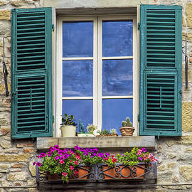 David Letts - Window of Tuscany with Green Wood Shutters