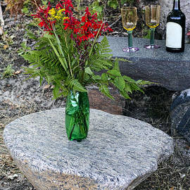 Les Palenik - Wine and red flowers on the rocks