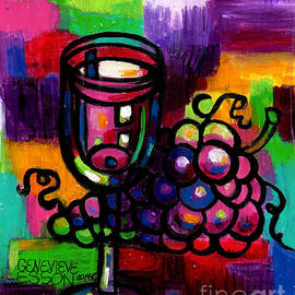 Genevieve Esson - Wine Glass With Grapes Abstract