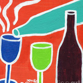 Genevieve Esson - Wine Glasses and Bottles With Orange Background