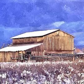Sara  Raber - Winter Barn in watercolor