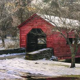 Michael Mazaika - Winter Crossing in Elegance - Carroll Creek Covered Bridge - Baker Park Frederick Maryland