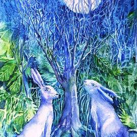 Trudi Doyle - Winter Descends as Two Hares Contemplate an Owl by Moonlight