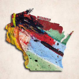 World Art Prints And Designs - Wisconsin Map Art - Painted Map of Wisconsin