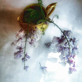 Louise Kumpf - Wisteria in a Gold Pitcher Still Life