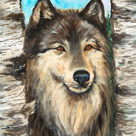 Nadine Johnston - Wolf in the Aspens OriginalPainting ForSale