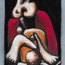 P J Lewis - Woman in a red armchair