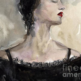 Svetlana Novikova - Woman in black watercolor portrait