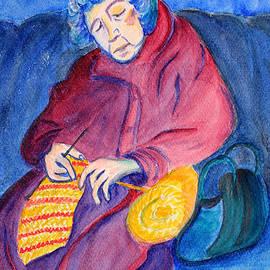 Asha Carolyn Young - Woman Knitting on the Subway