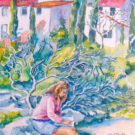 Woman Sketching in Langeduc Roussillon France