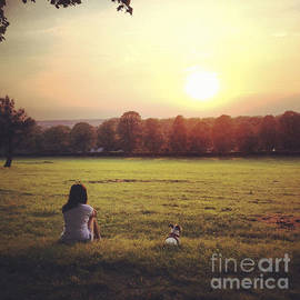 Project B - Women with Jack Russell dog watching the sunset