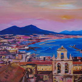 M Bleichner - Wonderful City View of Naples Italy with Mount Vesuvio and Gulf