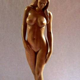 Carlos Baez Barrueto - Wood Sculpture of Naked Woman - Front View