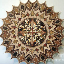 Persian Art - Wood Work Marquetry Embossed Relief Wood Carving