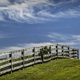 Randall Nyhof - Wooden Farm Fence on Crest of a Hill