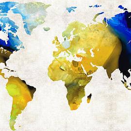 Sharon Cummings - World Map 16 - Yellow And Blue Art By Sharon Cummings