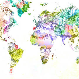 Eti Reid - World map acrylic paint splash