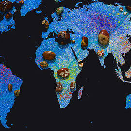 Augusta Stylianou - World Map and Sagittarius Constellation