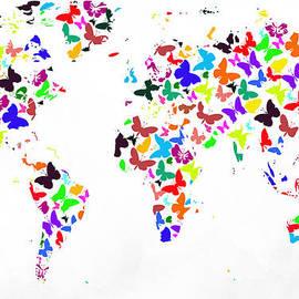 Eti Reid - World map colourful butterflies on white