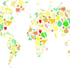 Eti Reid - World map colourful leaves