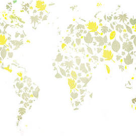 Eti Reid - World map leaves pale tones