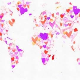 Eti Reid - World map love hearts