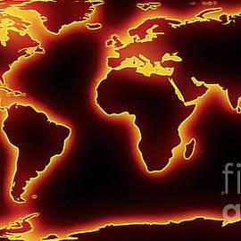 Pixel Chimp - World Map Red Glow