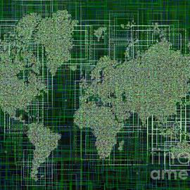 Eleven Corners - World Map Rettangoli in Green And White
