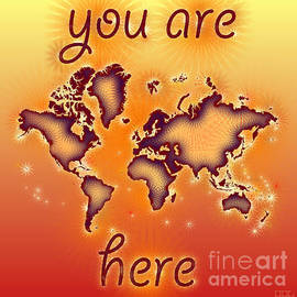 Eleven Corners - World Map You Are Here Amuza in Red Yellow and Orange