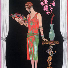 Georges Barbier - Worth evening dress fashion plate from Gazette du Bon Ton
