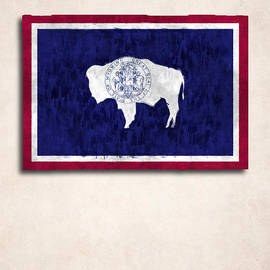 World Art Prints And Designs - Wyoming Map Art with Flag Design