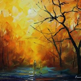 Leonid Afremov - Yellow Fog 2 - Palette Knife Oil Painting On Canvas By Leonid Afremov