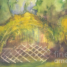 Christina Rahm - Yellow Forsythia blossoming in forest garden abstract watercolor