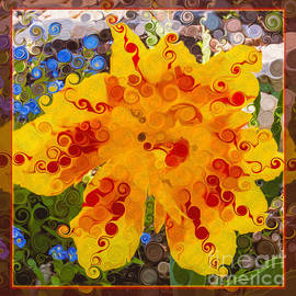 Omaste Witkowski - Yellow Lily with Streaks of Red Abstract Painting Flower Art