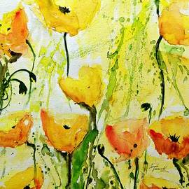 Ismeta Gruenwald - Yellow Poppys - Abstract Floral Painting