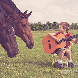 Project B - Young boy playing guitar in a field with two horses