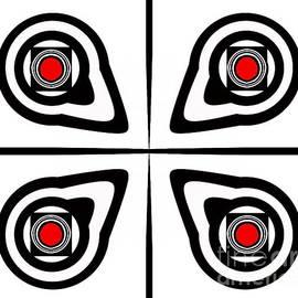 Drinka Mercep - Geometric Art Black White Red Abstract No.190.