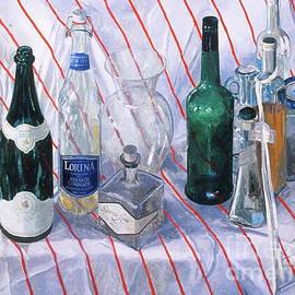 Robert Bowden - Bottles on striped cloth