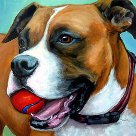 Dottie Dracos - Boxer with Red Ball