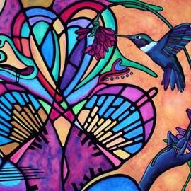 Lori Miller - Hummingbird and Stained Glass Hearts