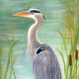 Jeanne Kay Juhos - Great Blue Heron Watches by Pond